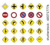 road sign vector icon set | Shutterstock .eps vector #683717776