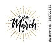hello march   firework   vector ... | Shutterstock .eps vector #683722882
