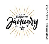 welcome january   firework  ... | Shutterstock .eps vector #683722915