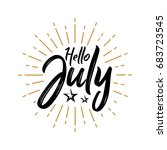 hello july   firework   vector... | Shutterstock .eps vector #683723545