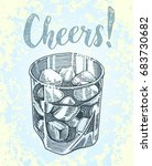 cheers lettering. hand drawn... | Shutterstock .eps vector #683730682