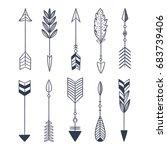 arrow set in native american... | Shutterstock .eps vector #683739406