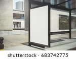 modern glass bus stop with... | Shutterstock . vector #683742775