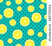 seamless pattern with lemons on ... | Shutterstock .eps vector #683745316