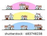 set of urban and suburban... | Shutterstock .eps vector #683748238