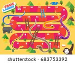 snake and ladder boardgame is... | Shutterstock .eps vector #683753392