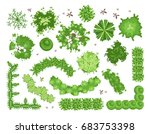set of different green trees ... | Shutterstock .eps vector #683753398