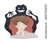 frightened boy in bed and the... | Shutterstock .eps vector #683753695