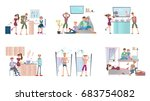 young people living in hostel....   Shutterstock .eps vector #683754082