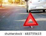 a broken car in the middle of... | Shutterstock . vector #683755615