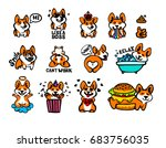corgi emoji stickers  patches... | Shutterstock .eps vector #683756035