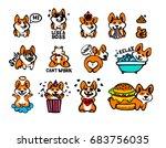 corgi emoji stickers  patches... | Shutterstock .eps vector #683756035