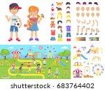 little children and summer... | Shutterstock .eps vector #683764402