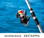 fishing rod with a spinning... | Shutterstock . vector #683764996