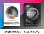 minimal sound poster. modern... | Shutterstock .eps vector #683765692