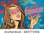 beautiful woman disco. pop art... | Shutterstock .eps vector #683771506