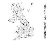 united kingdom map of polygonal ... | Shutterstock . vector #683774686