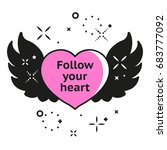love banner with heart  wings... | Shutterstock .eps vector #683777092
