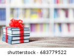 books with ribbon bow as gift... | Shutterstock . vector #683779522