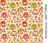 winter seamless pattern with... | Shutterstock .eps vector #683779846