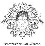 buddha face over ornate mandala.... | Shutterstock .eps vector #683780266
