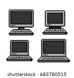 pixelated set of pcs and... | Shutterstock .eps vector #683780515