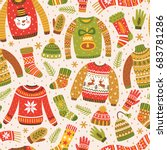 winter seamless pattern with... | Shutterstock .eps vector #683781286