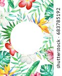 card template with watercolor...   Shutterstock . vector #683785192