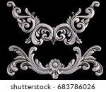 chrome ornament on a black... | Shutterstock . vector #683786026