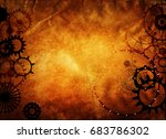 steampunk background  gears ... | Shutterstock . vector #683786302