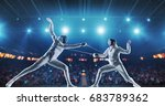 two female fencing athletes... | Shutterstock . vector #683789362