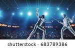 two female fencing athletes... | Shutterstock . vector #683789386