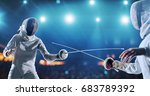 two female fencing athletes... | Shutterstock . vector #683789392