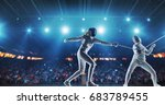 two female fencing athletes... | Shutterstock . vector #683789455