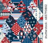 nautical elements patchwork ...   Shutterstock .eps vector #683793802