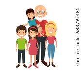 family with kids | Shutterstock .eps vector #683795485