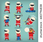 set of colorful racing... | Shutterstock .eps vector #683796838