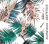 trendy seamless exotic pattern... | Shutterstock .eps vector #683797015