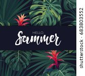 green tropical design with palm ... | Shutterstock .eps vector #683803552
