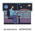 the pilot controls a space ship ... | Shutterstock .eps vector #683805082
