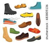 male man season shoes in flat... | Shutterstock .eps vector #683805136