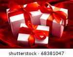 valentines gift boxes tied with ... | Shutterstock . vector #68381047