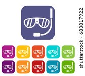 swimming mask icons set | Shutterstock .eps vector #683817922