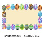 easter eggs around a blank... | Shutterstock .eps vector #683820112