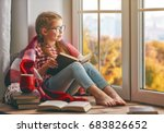 cute child girl sitting by the... | Shutterstock . vector #683826652