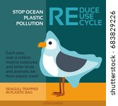 stop ocean plastic pollution... | Shutterstock .eps vector #683829226