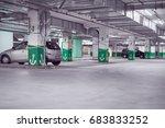 blurred spacious underground... | Shutterstock . vector #683833252