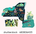 illustrated map of new york...   Shutterstock .eps vector #683836435
