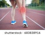 running sportsman feeling pain... | Shutterstock . vector #683838916