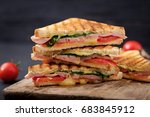 club sandwich panini with ham ... | Shutterstock . vector #683845912